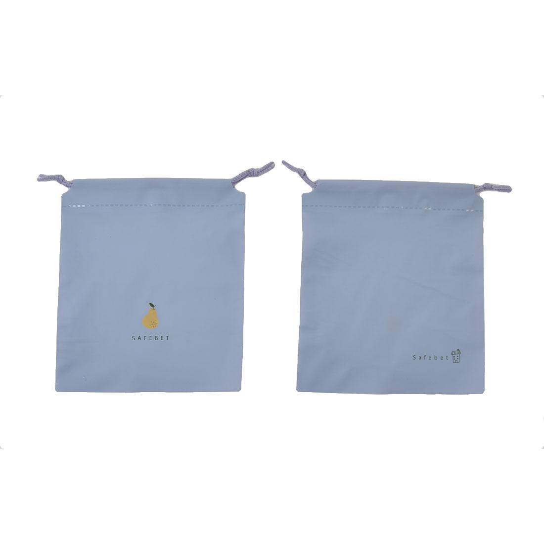PE Pear Pattern Drawstring Closure Cosmetics Storage Bag Light Purple 2 Pcs