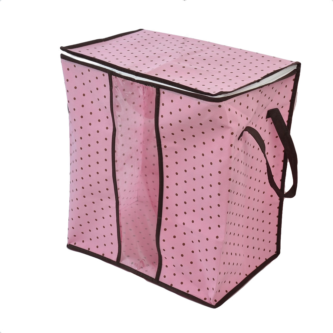 Non-woven Fabric Dots Pattern Clothes Quilt Duvet Storage Bag Organizer Pink