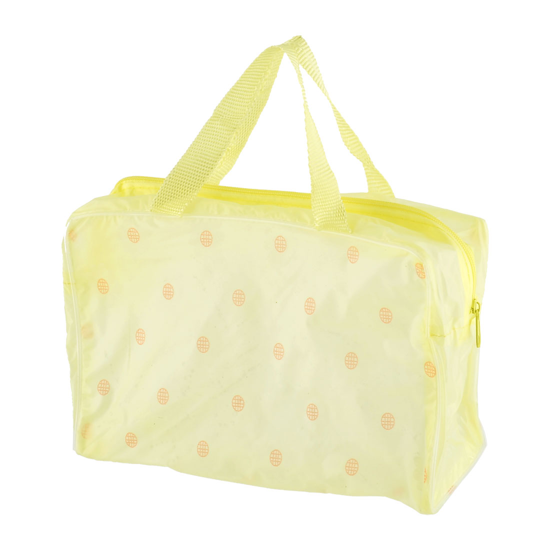 Travel PVC Flower Pattern Wash Bag Storage Holder Pouch Yellow 2 Pcs