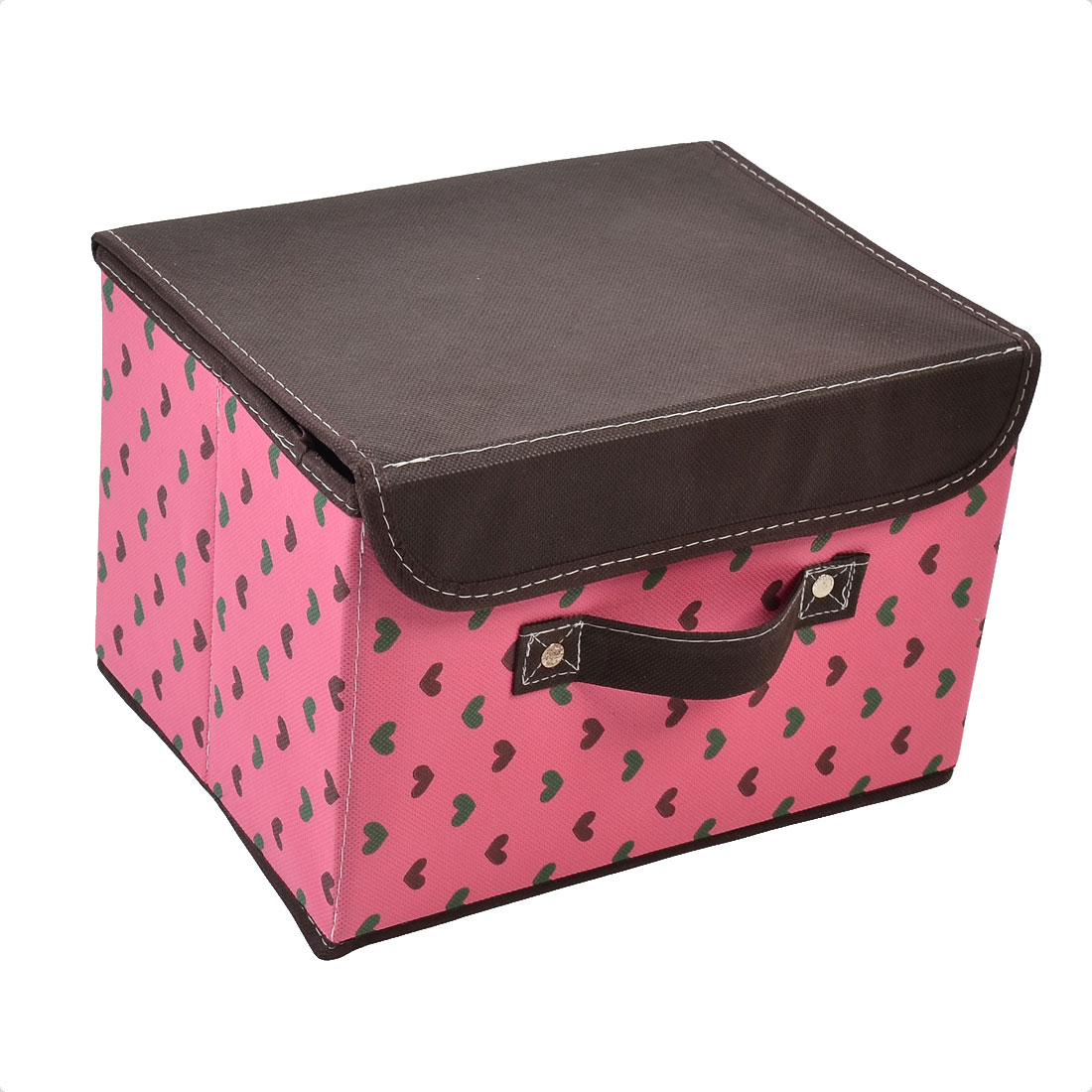 Non-woven Fabric Heart Pattern Cosmetic Makeup Storage Box Holder Brown Fuchsia