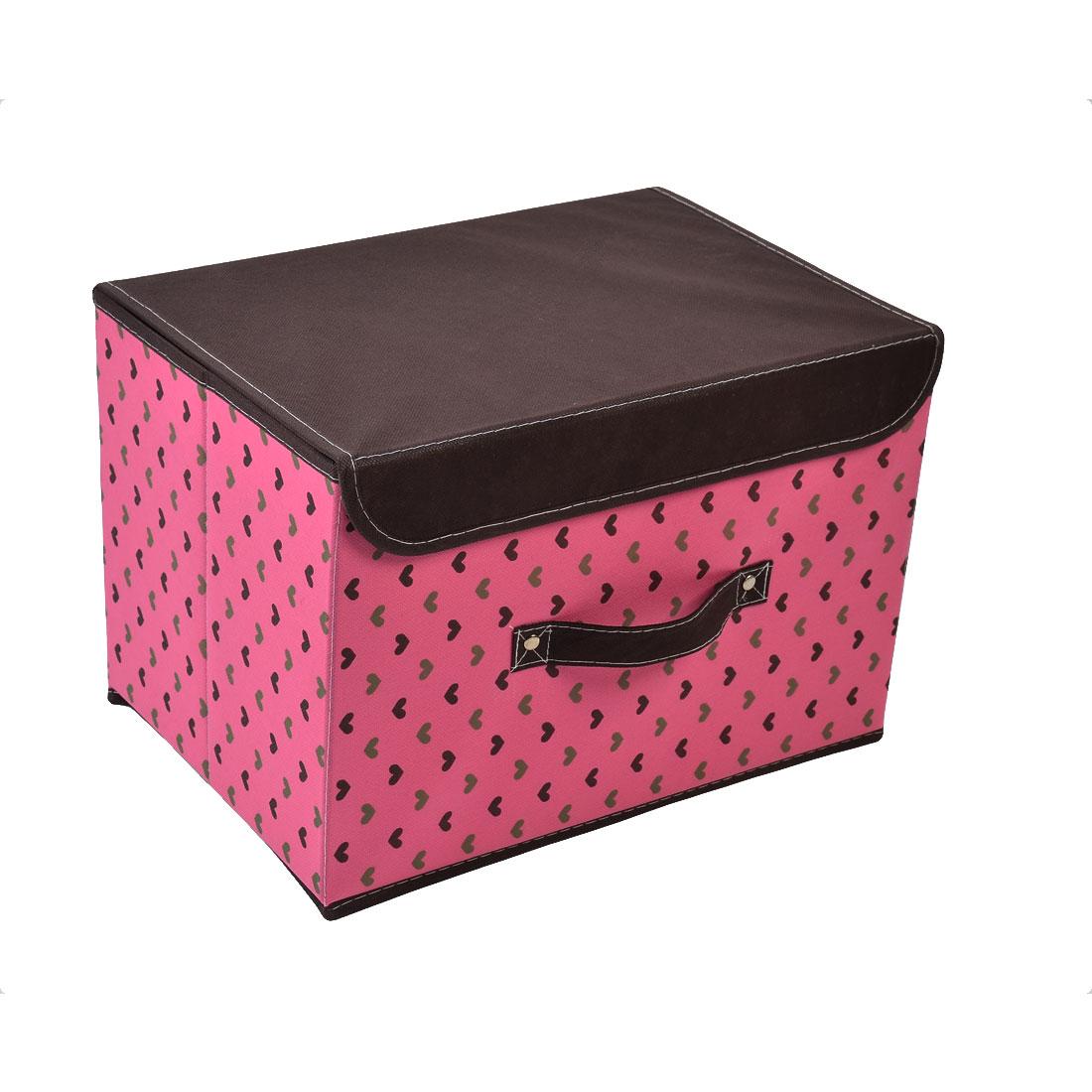 Non-woven Fabric Heart Pattern Sundries Storage Box Brown Fuchsia 37cm x 25cm x 25cm