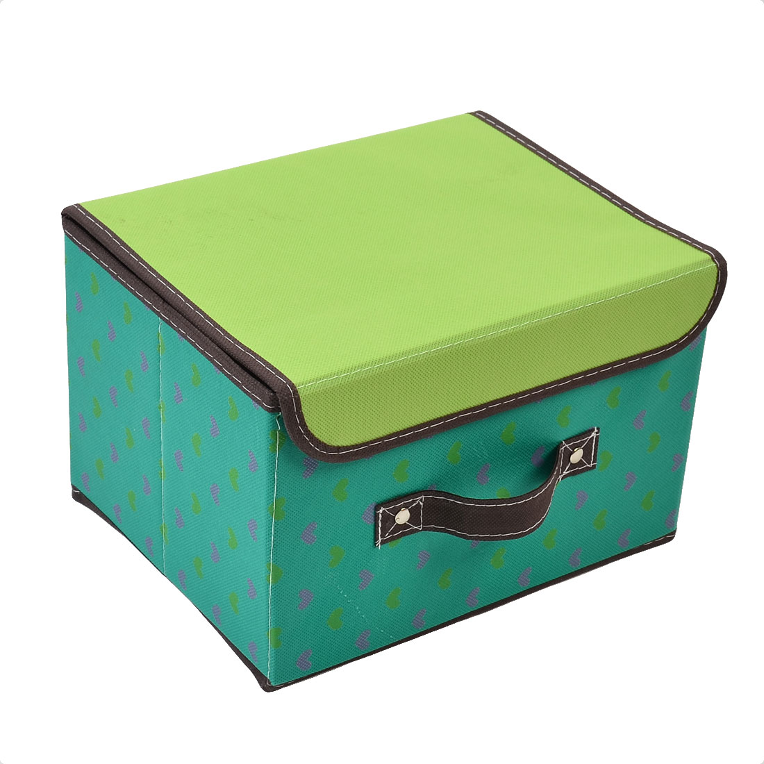 Non-woven Fabric Square Shape Heart Pattern Cosmetic Makeup Storage Box Green
