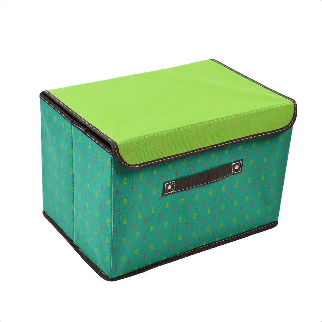 Non-woven Fabric Heart Pattern Cosmetic Storage Box Green 38cm x 25cm x 25cm
