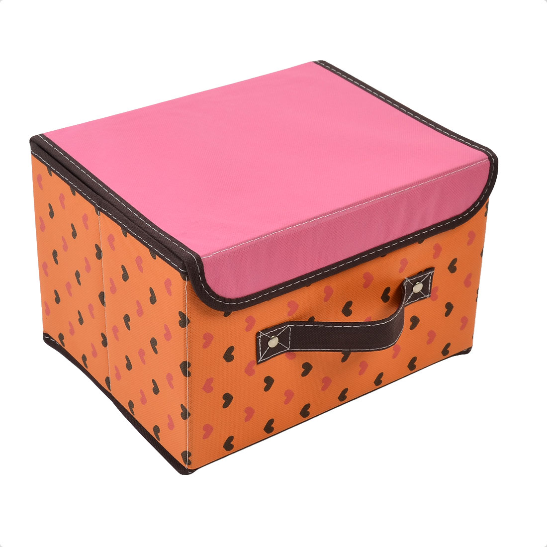 Non-woven Fabric Heart Pattern Foldable Storage Box Container Pink Orange