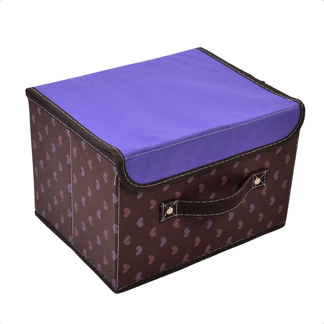 Non-woven Fabric Heart Pattern Carrying Strap Design Storage Box Purple Coffee Color