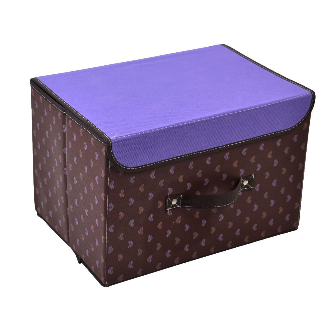 Non-woven Fabric Heart Pattern Clothes Underwear Storage Box Purple Coffee Color