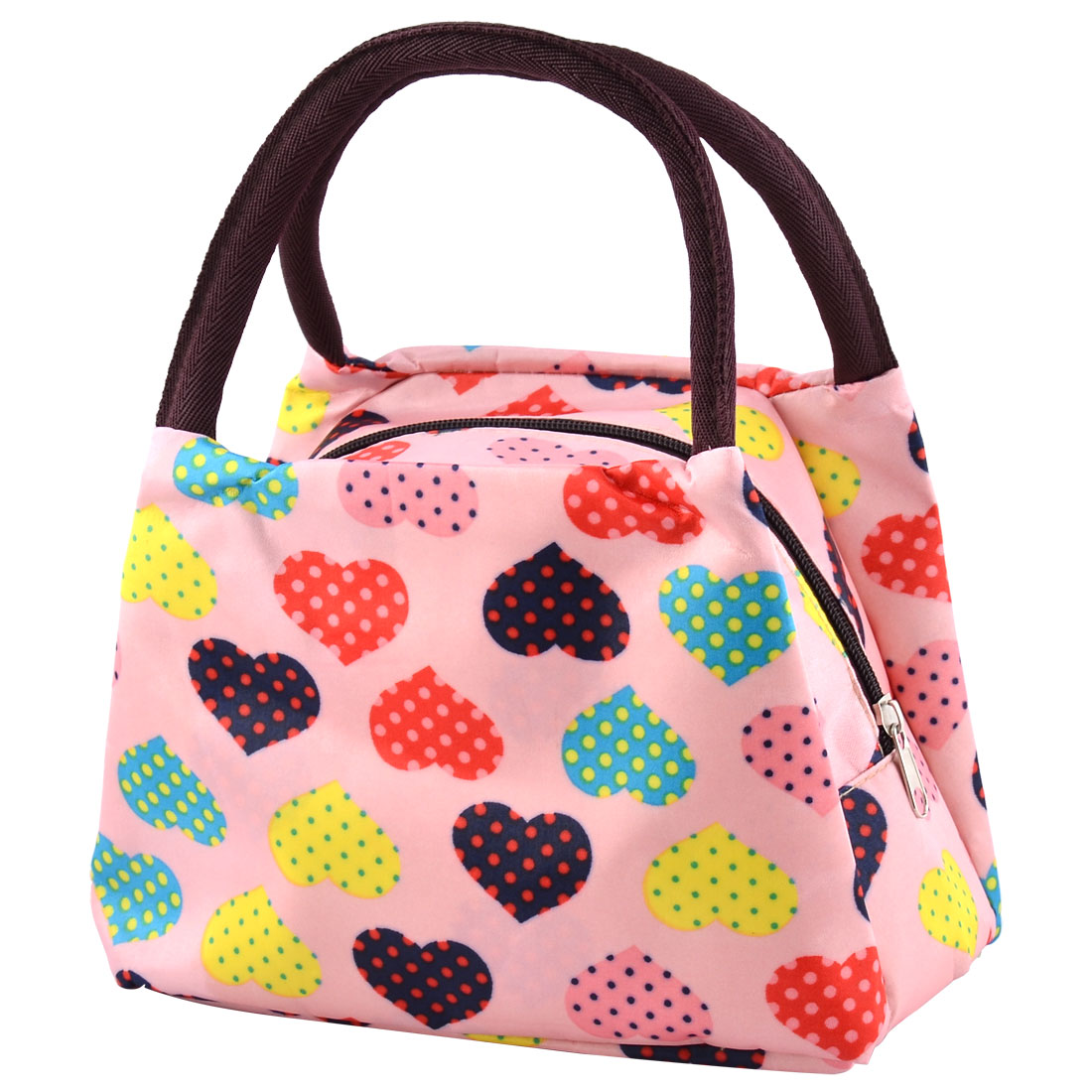 Polyester Heart Pattern Zipper Closure Design Lunch Handbag Storage Bag Pink