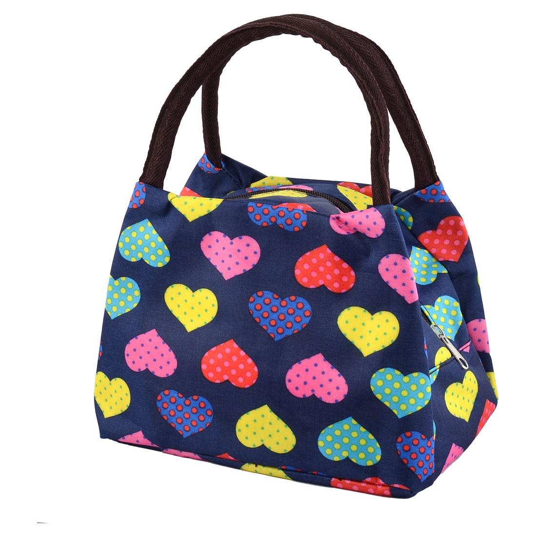 Polyester Heart Pattern Zipper Closure Design Camping Lunch Handbag Pouch Blue