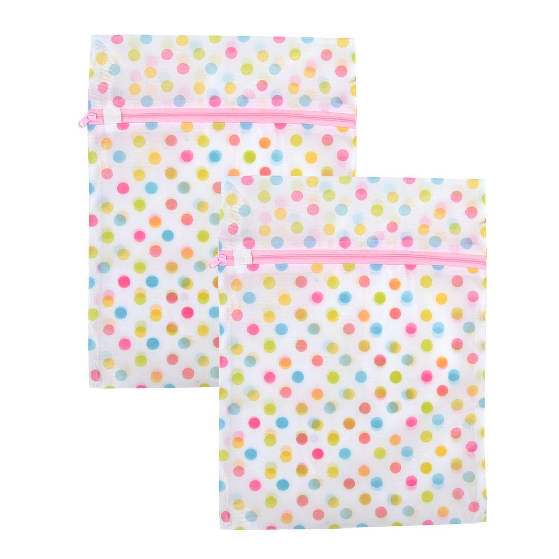 Nylon Square Shape Dots Pattern Blouse Underwear Laundry Mesh Washing Bag 2 Pcs