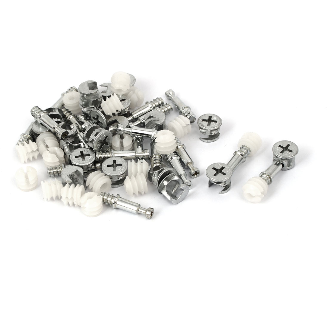 Furniture Connecting Dowel Pre-inserted Nut Cam Fitting 13x10mm 20 Sets