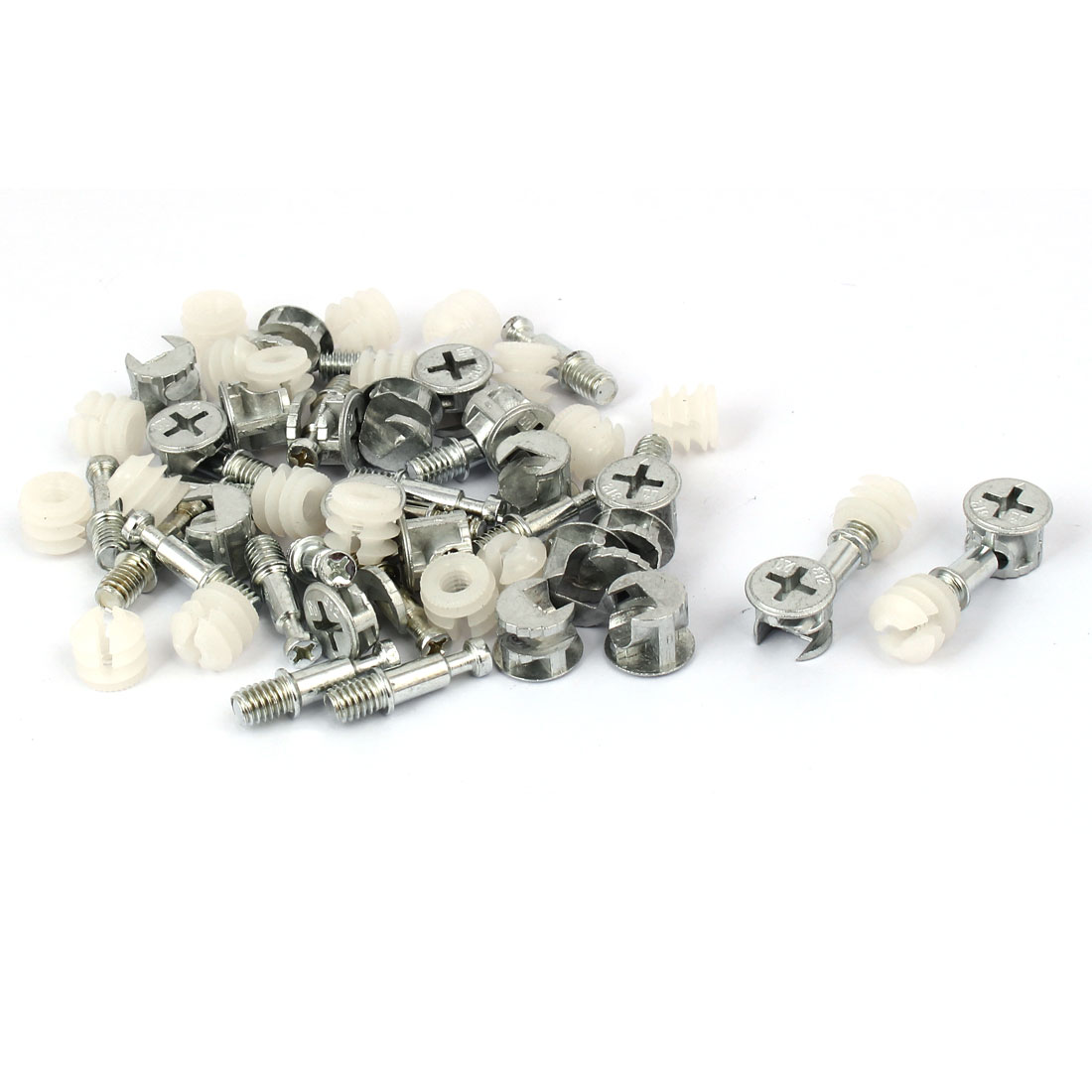 Knock Down Furniture Cam Lock Connecting Fitting Dowel Nut Assembly 20 Sets