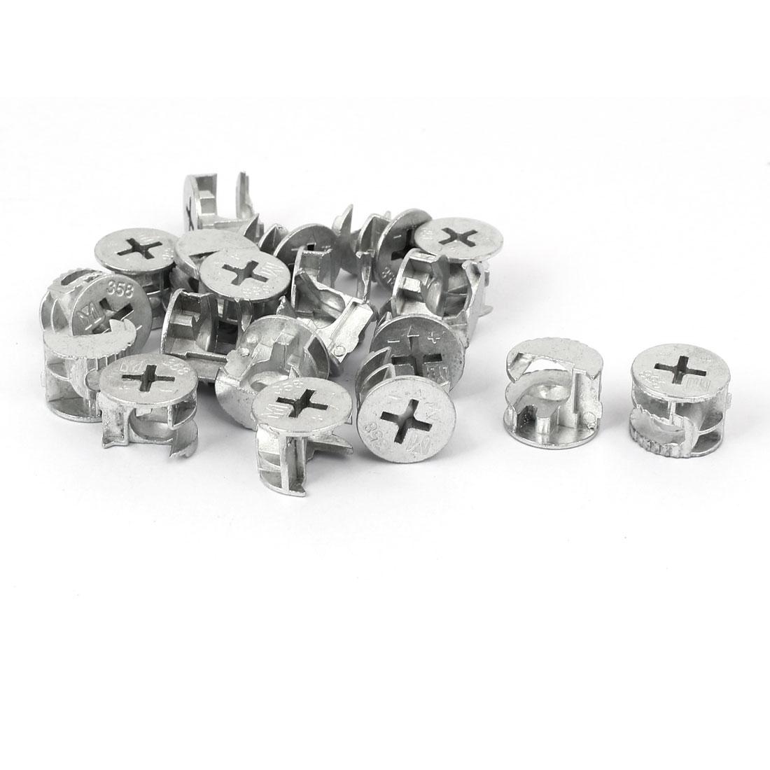 15mm Dia Furniture Cabinets Metal Cam Fittings Connectors 20pcs