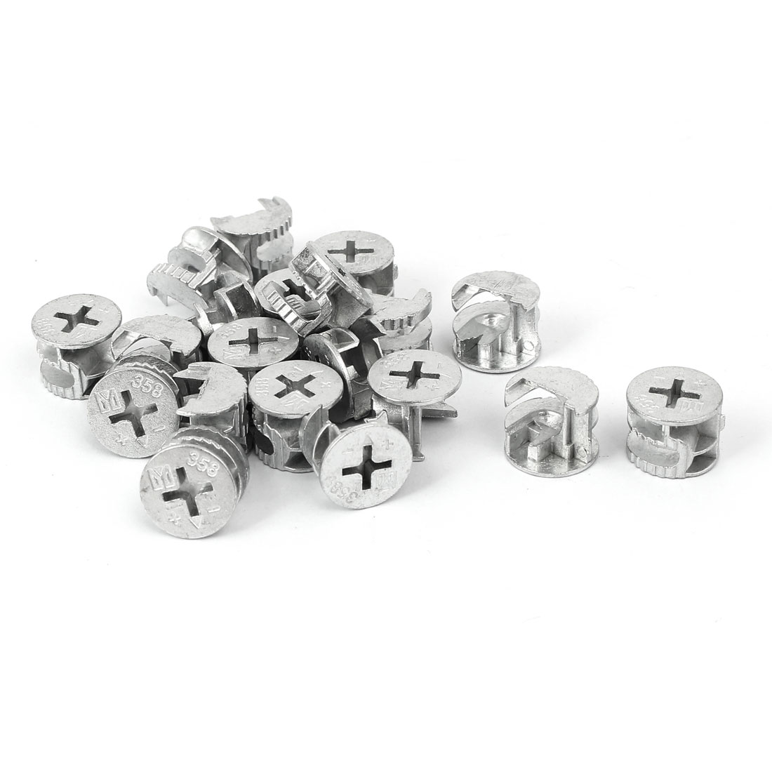 15mm Dia Head Furniture Connecting Cam Fittings Silver Tone 20pcs
