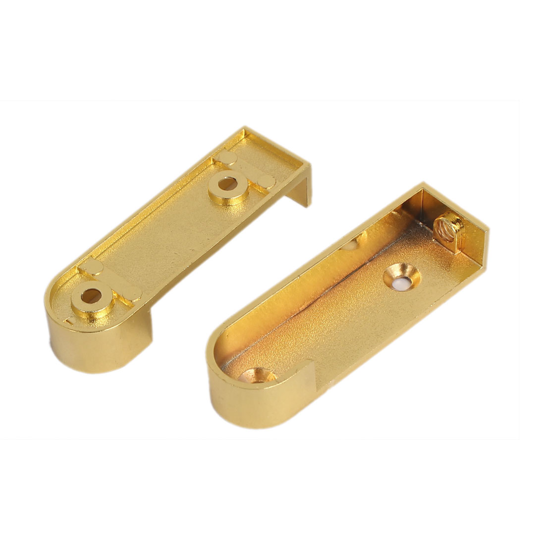 Wardrobe Closet Metal Rod Flange Holder Bracket 16mm Dia Gold Tone 2pcs