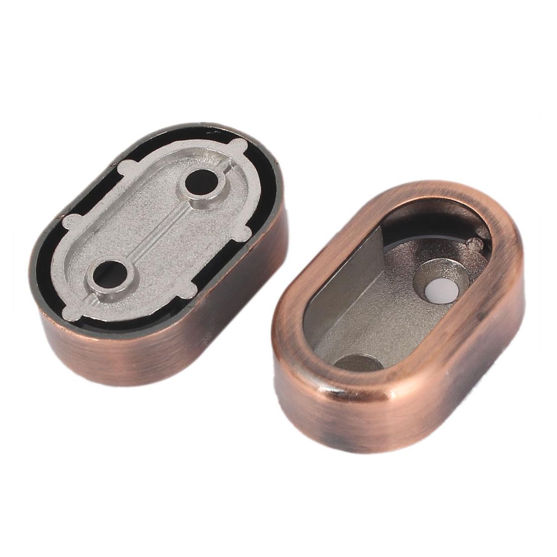 Cabinet Closet Metal Rod Flange Wardrobe Rail Support Copper 2pcs