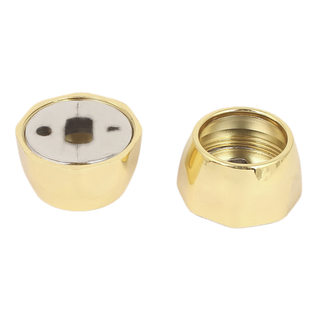 Wardrobe Metal Round Tube Flange Base Rail End Support Bracket Gold Tone 2pcs