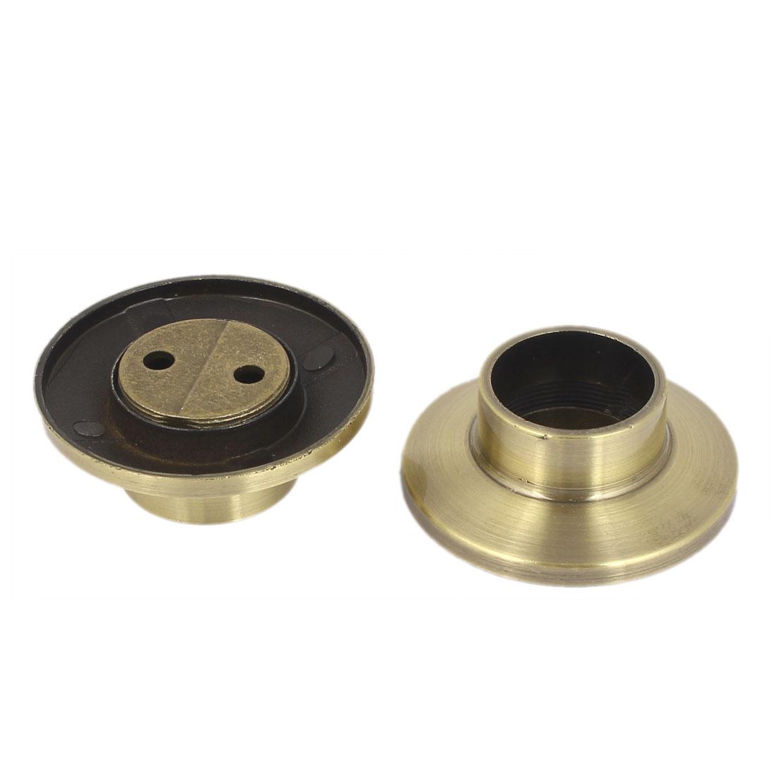 Metal Wardrobe Hanging Rail Rod End Support Bracket Socket Bronze Tone 2pcs