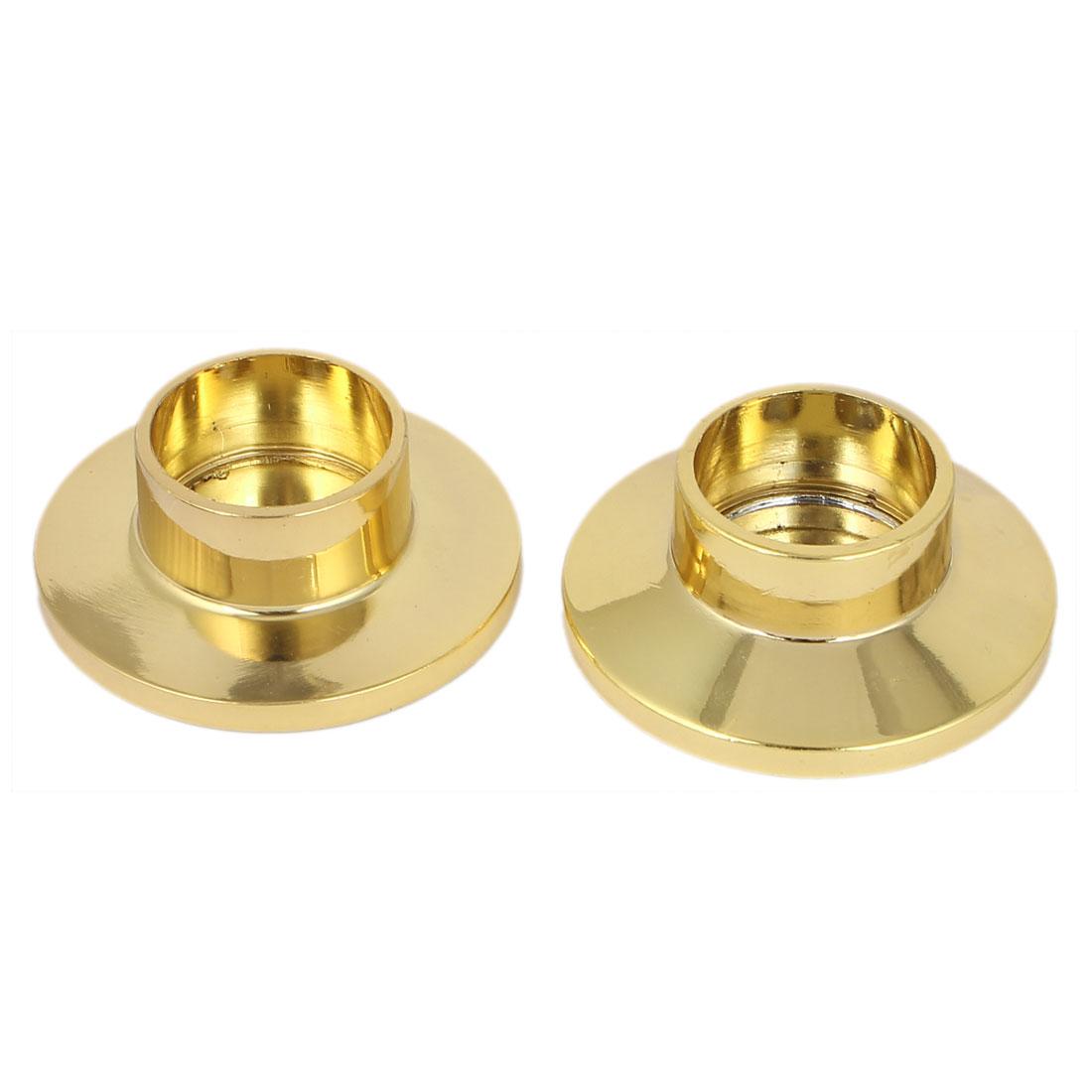 Metal Wardrobe Hanging Rail Rod End Support Bracket Socket Gold Tone 2pcs