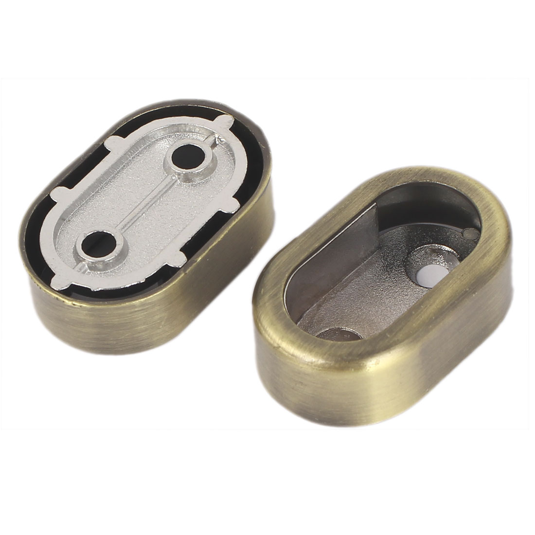 Cabinet Closet Metal Rod Flange Wardrobe Rail Support Bronze Tone 2pcs