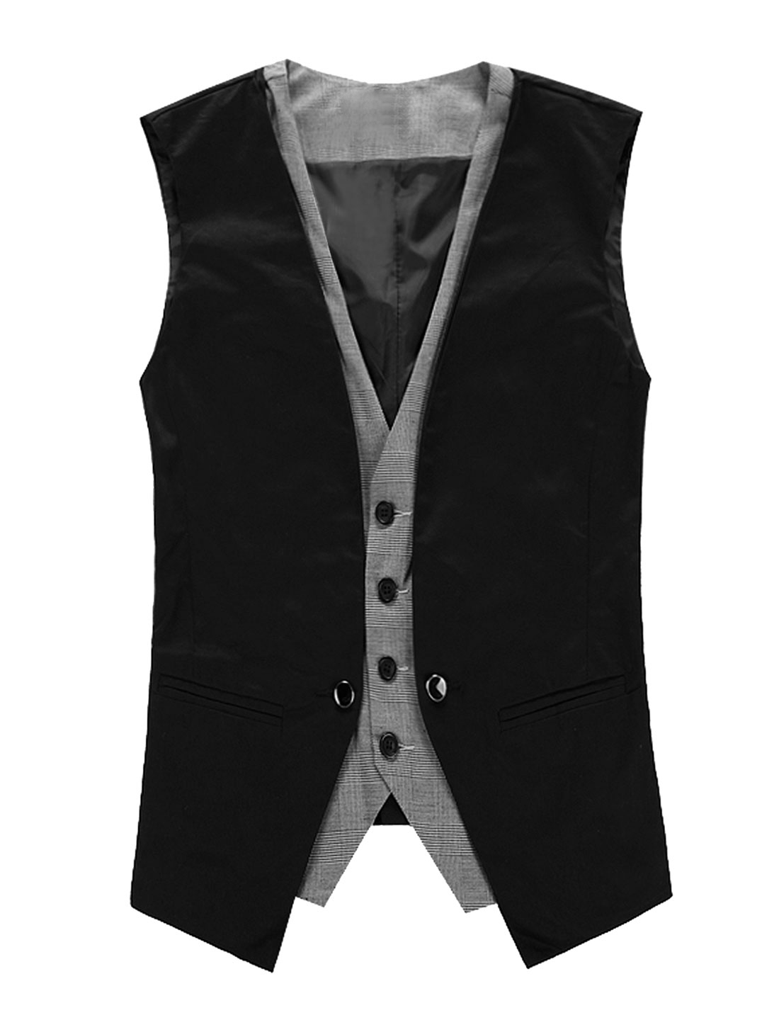 Men Button Down Closure V Neck Sleeveless Plaid Layered Waistcoat Vest Black L