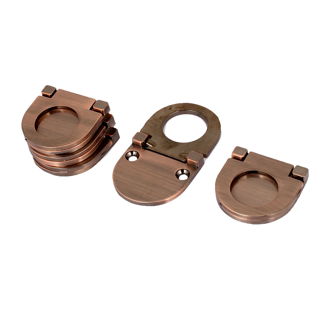 Cupboard Chest Drawer Metal Flush Mount Pull Ring Handle Copper Tone 5pcs