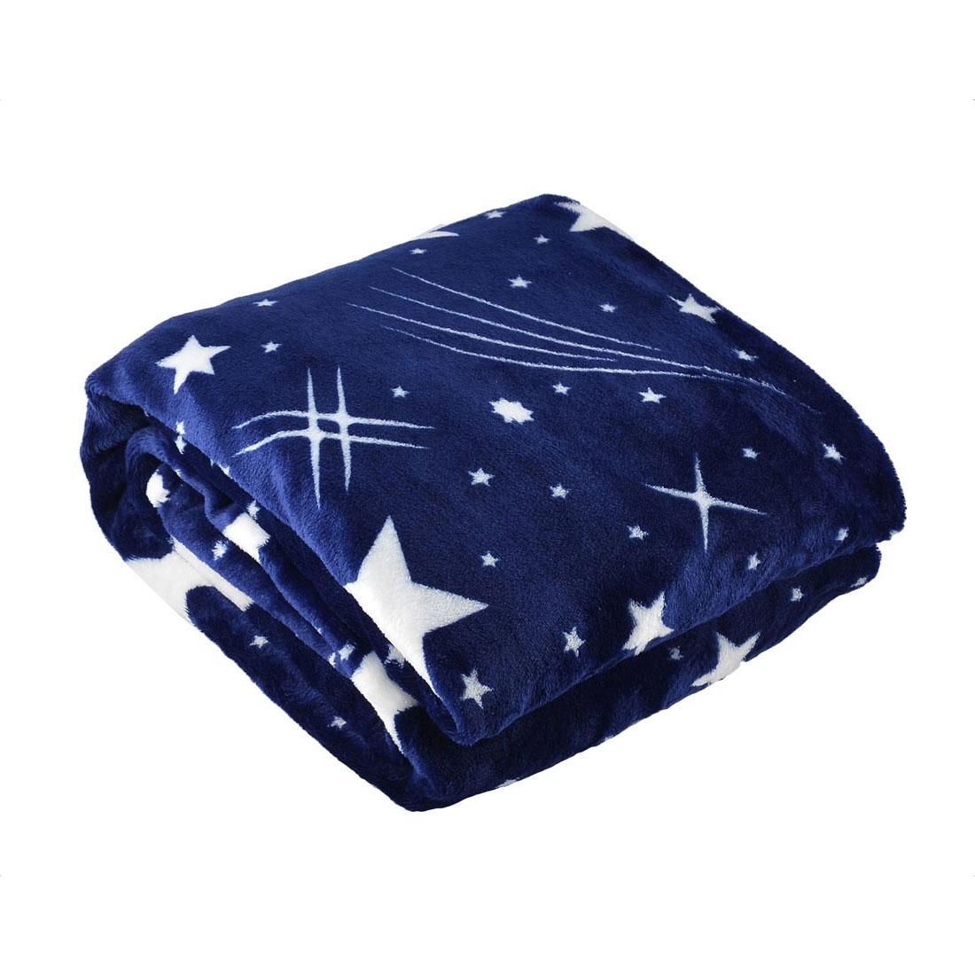 150 x 200cm Twin Size Home Bedroom Warm Throw Blanket Rug Plush Fleece Bed Quilt Sofa Soft Star Pattern Dark Blue
