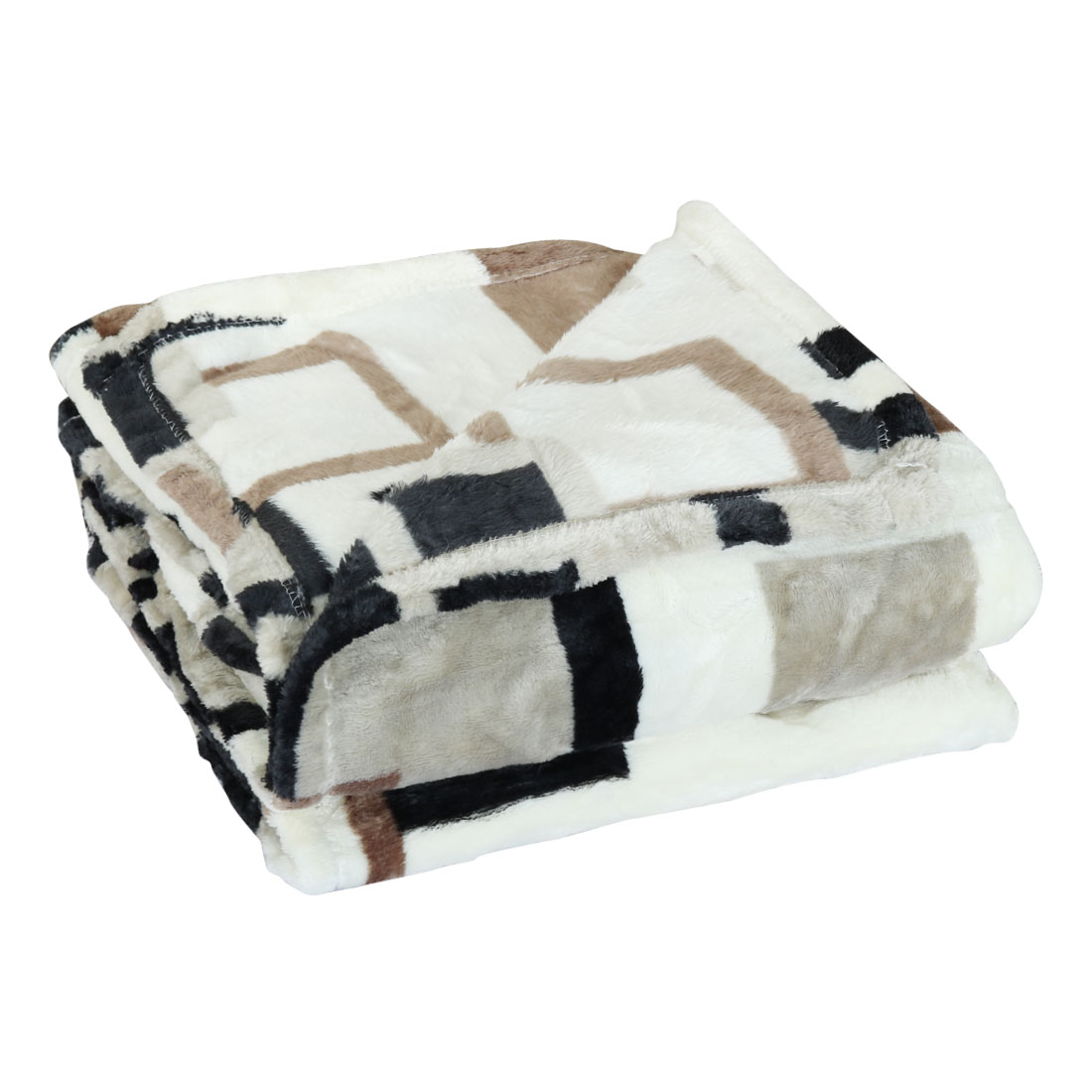 180 x 200cm Queen Size Home Bedroom Bed Sofa Warm Plush Couch Throws Blanket Soft Grid Pattern Black