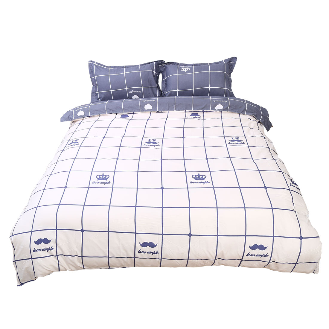 Crown Pattern Duvet Cover Pillow Case Quilt Cover Bedding Set Super King