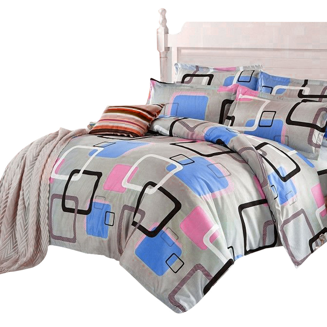 Colorful Square Pattern Duvet Cover Pillow Case Quilt Cover Bedding Set Double