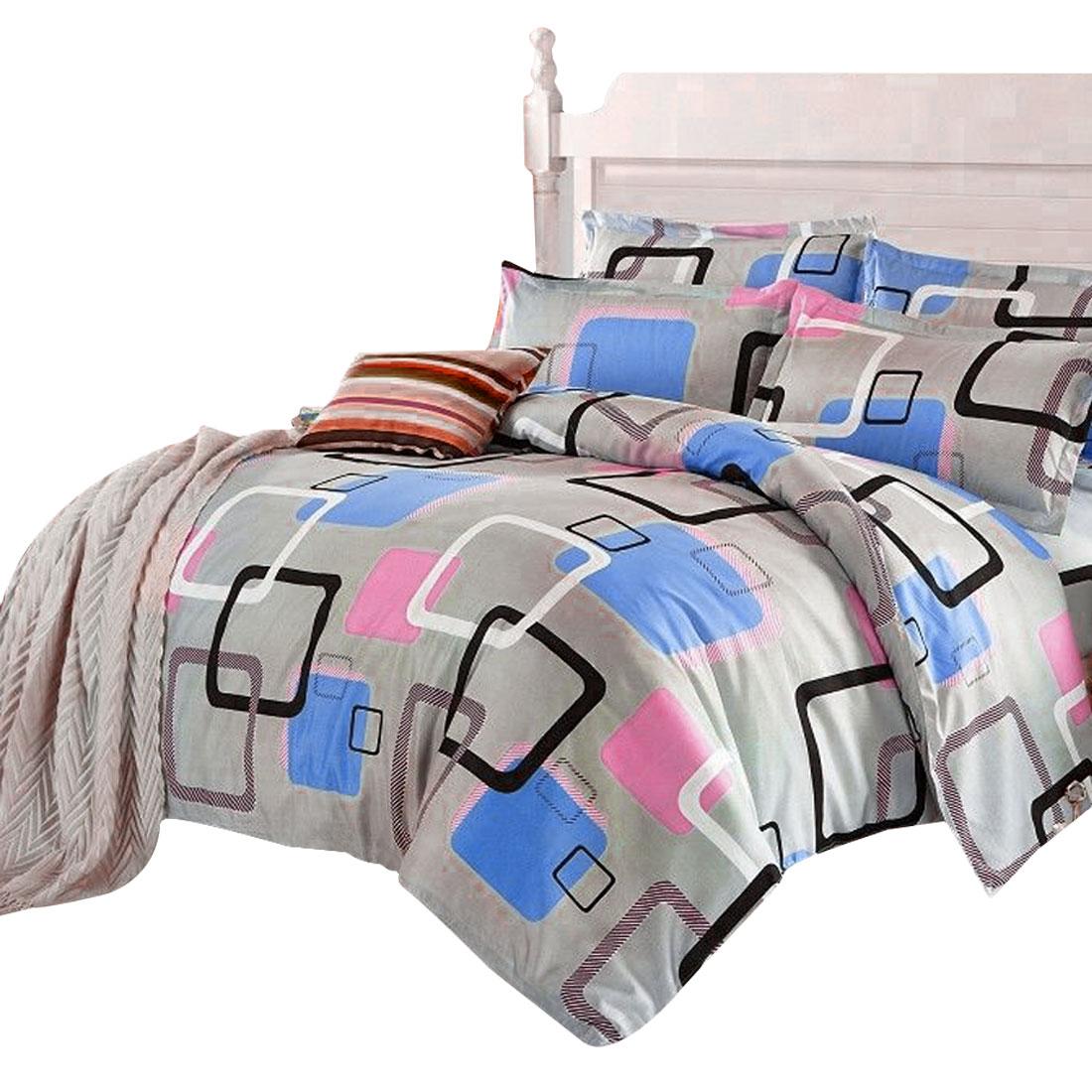 Colorful Square Pattern Duvet Cover Pillow Case Quilt Cover Bedding Set Double