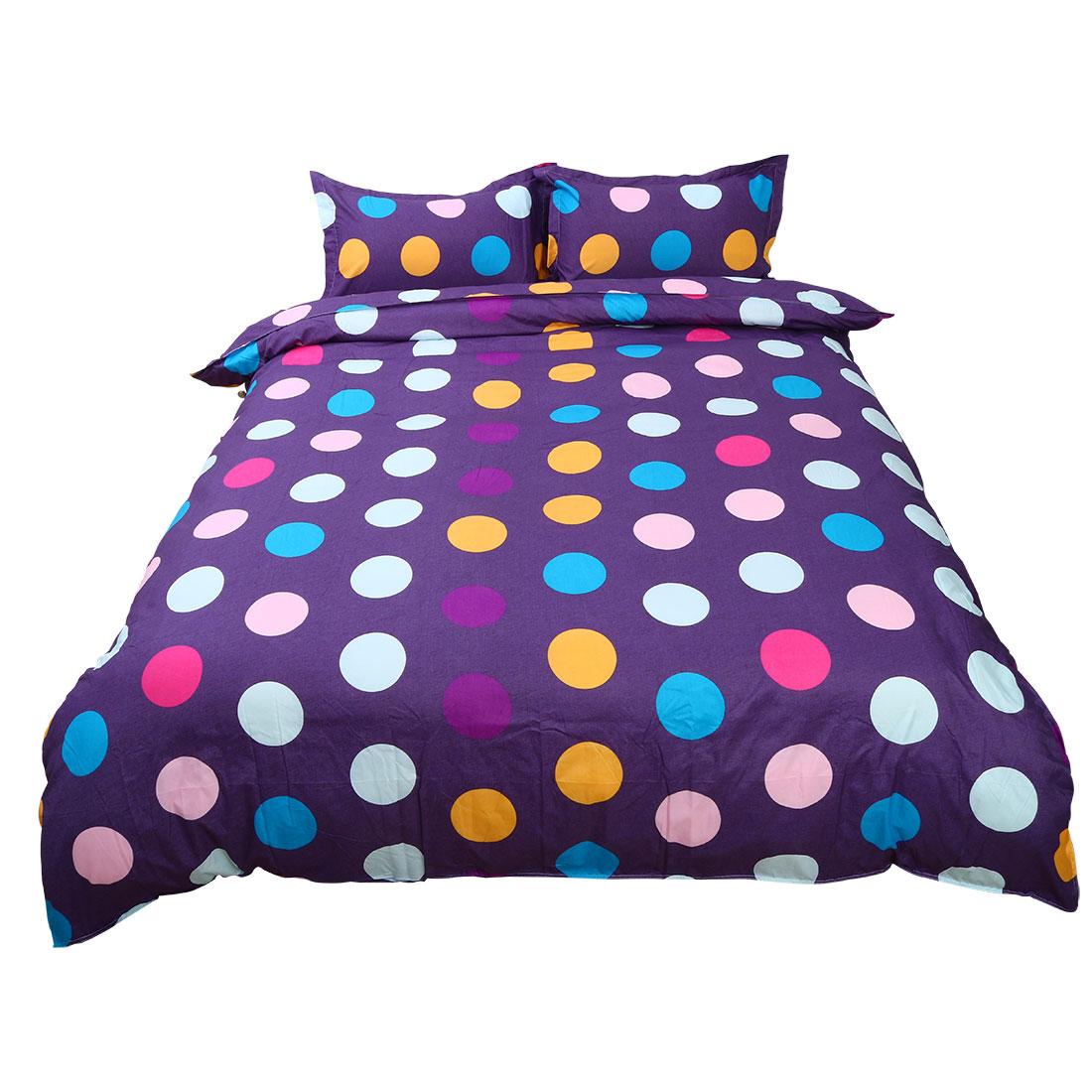 PiccoCasa Colorful Dot Pattern Duvet Quilt Cover Pillow Case Bedding Set Double
