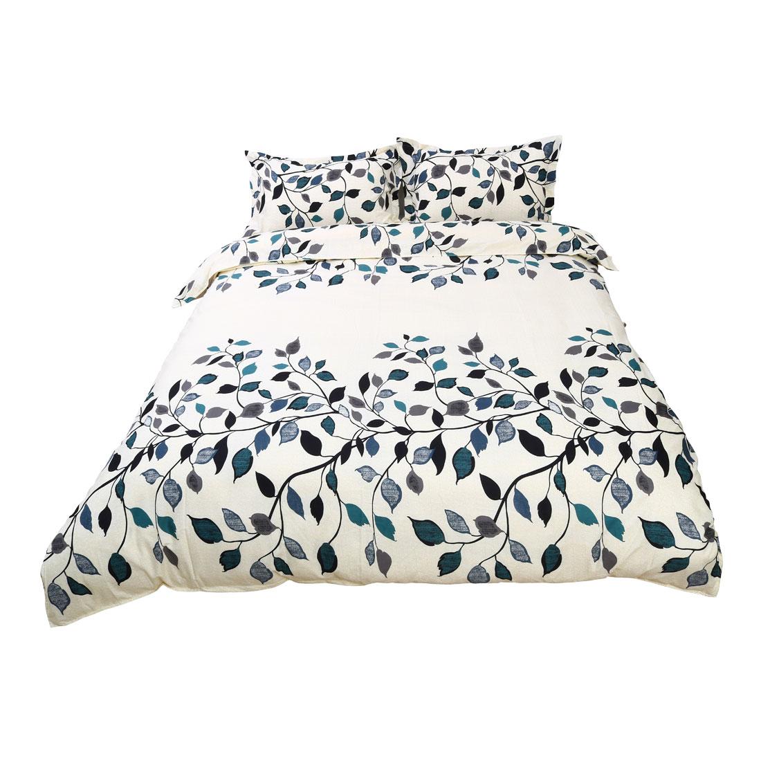 PiccoCasa Leaves Pattern Duvet Cover Pillow Case Quilt Cover Bedding Set King