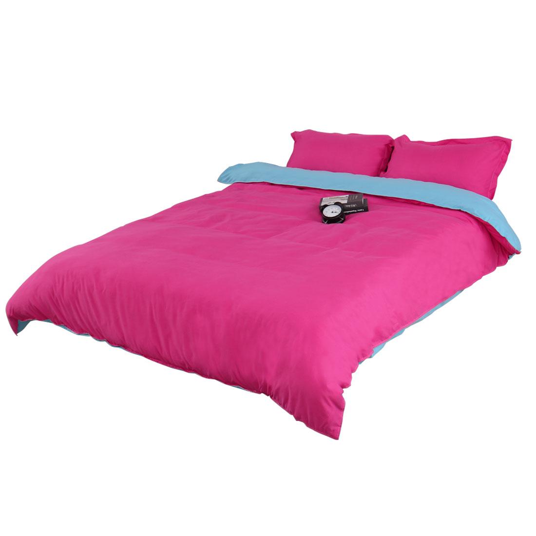 Pure Blue Fuchsia Duvet Cover Pillow Case Quilt Cover Bedding Set Double