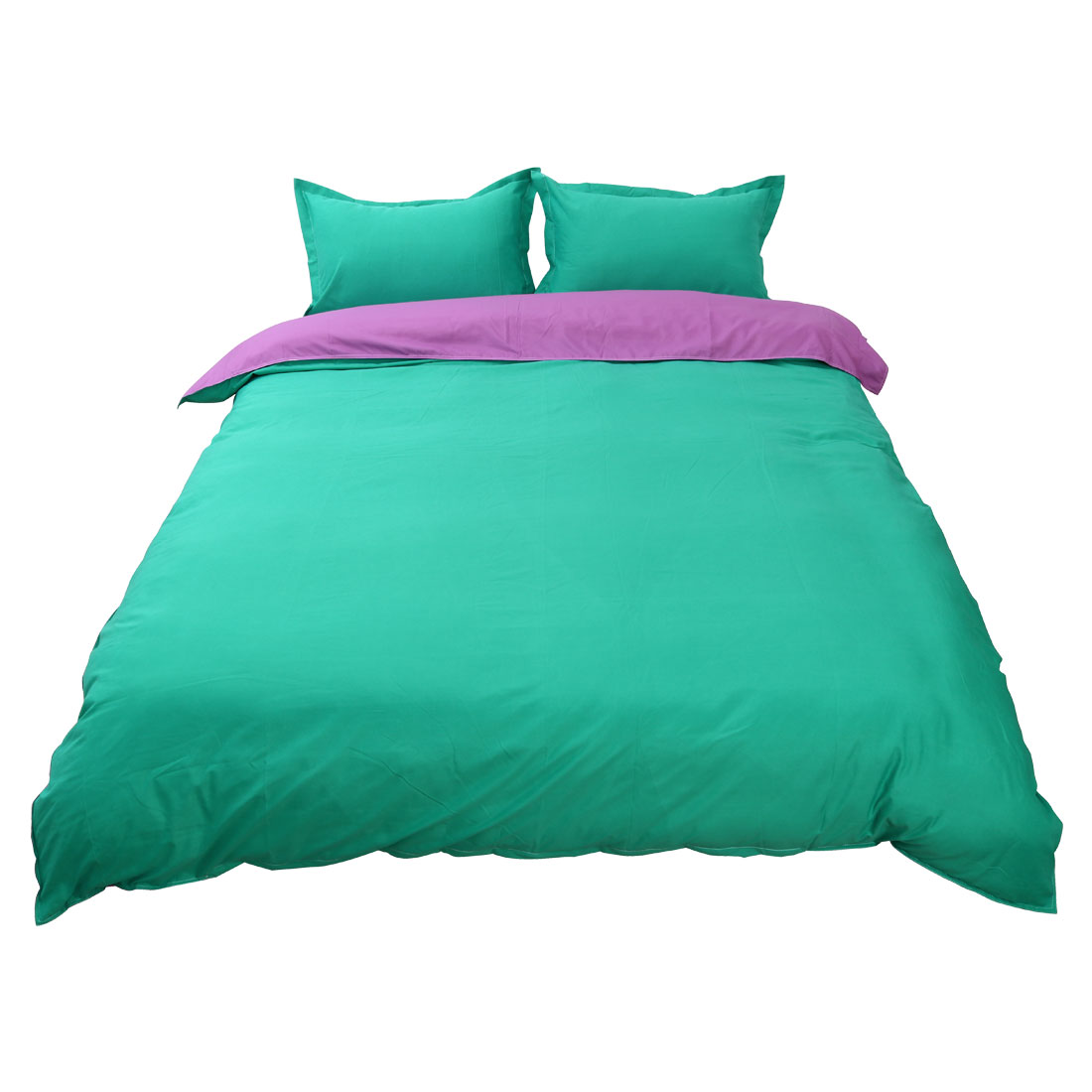 PiccoCasa Pure Green Purple Duvet Pillow Case Quilt Cover Bedding Set Double