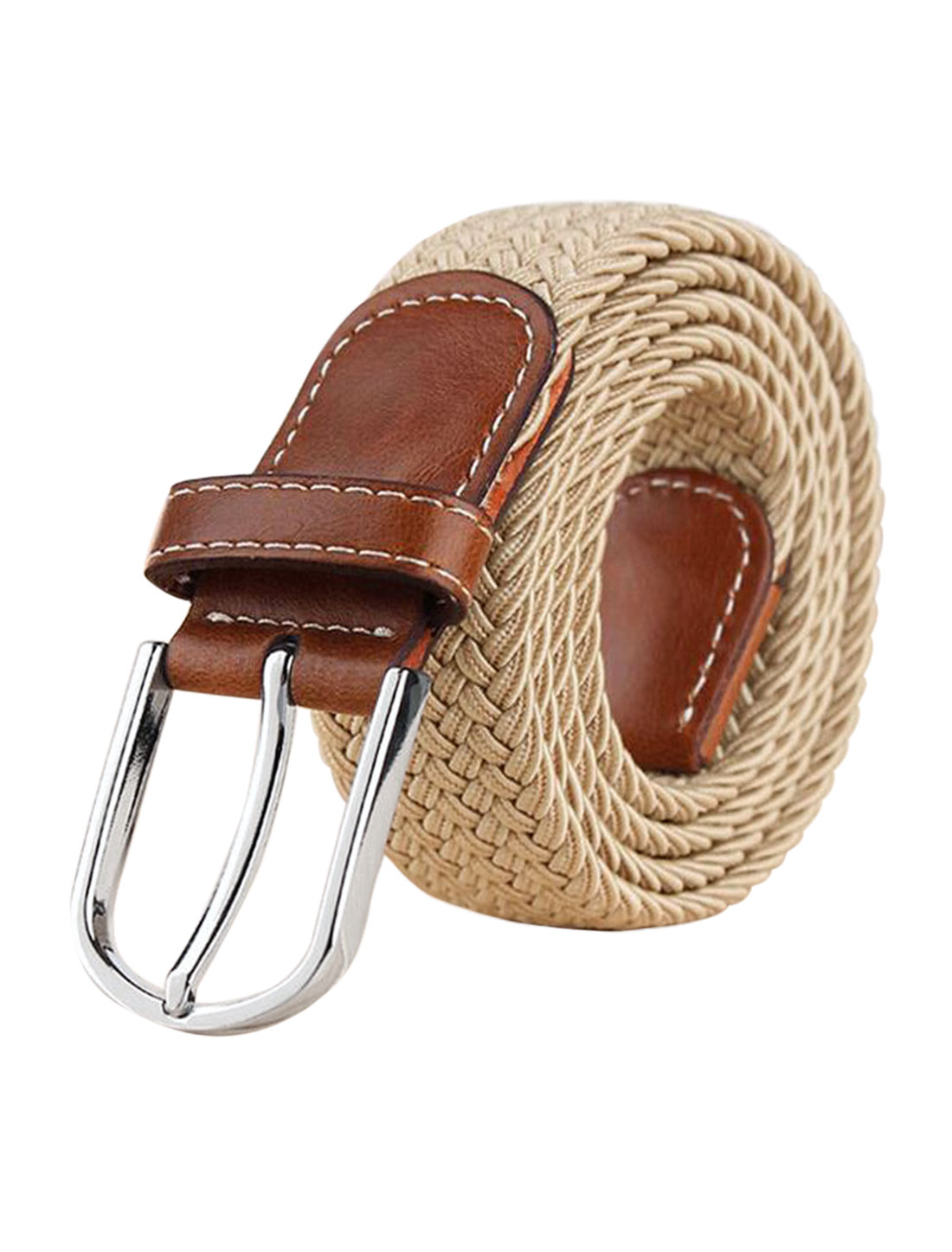 Men Zig-Zag Design PU Panel Adjustable Elastic Weave Belt Beige
