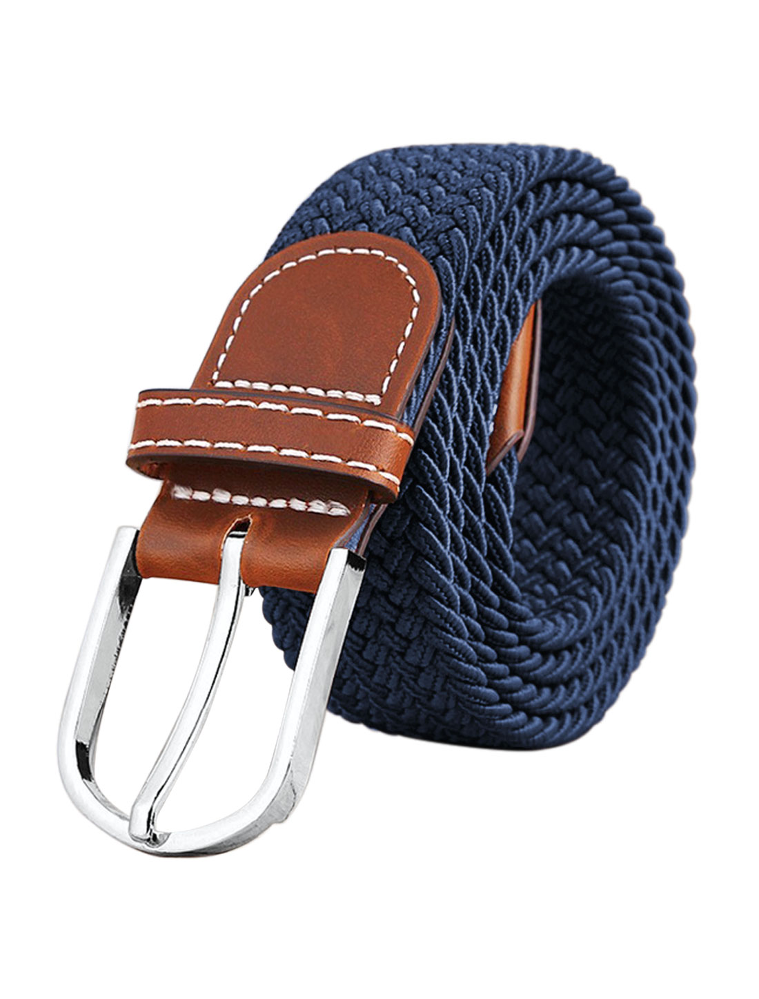 Men Zig-Zag Design PU Panel Adjustable Elastic Weave Belt Blue