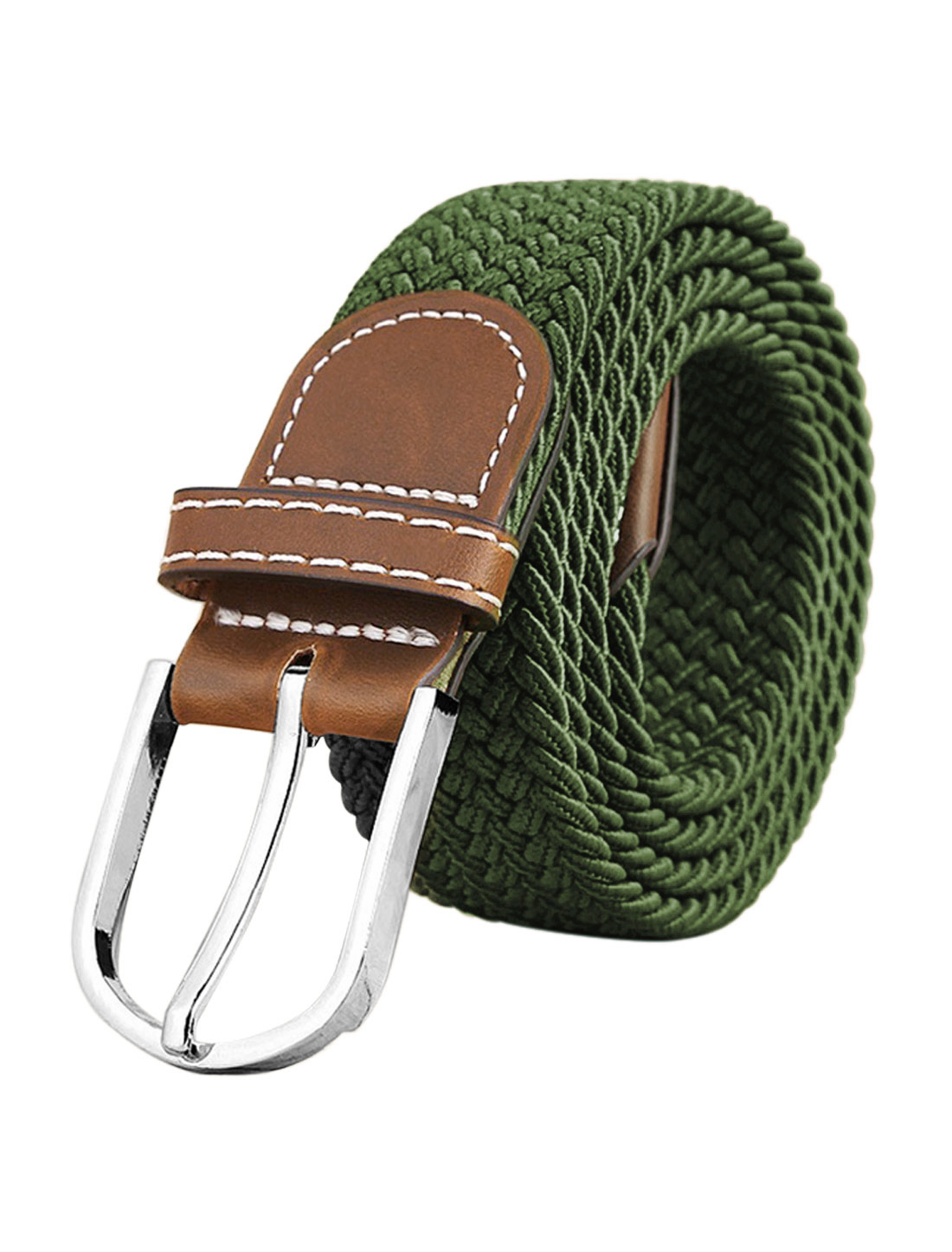 Men Zig-Zag Design PU Panel Adjustable Elastic Weave Belt Green
