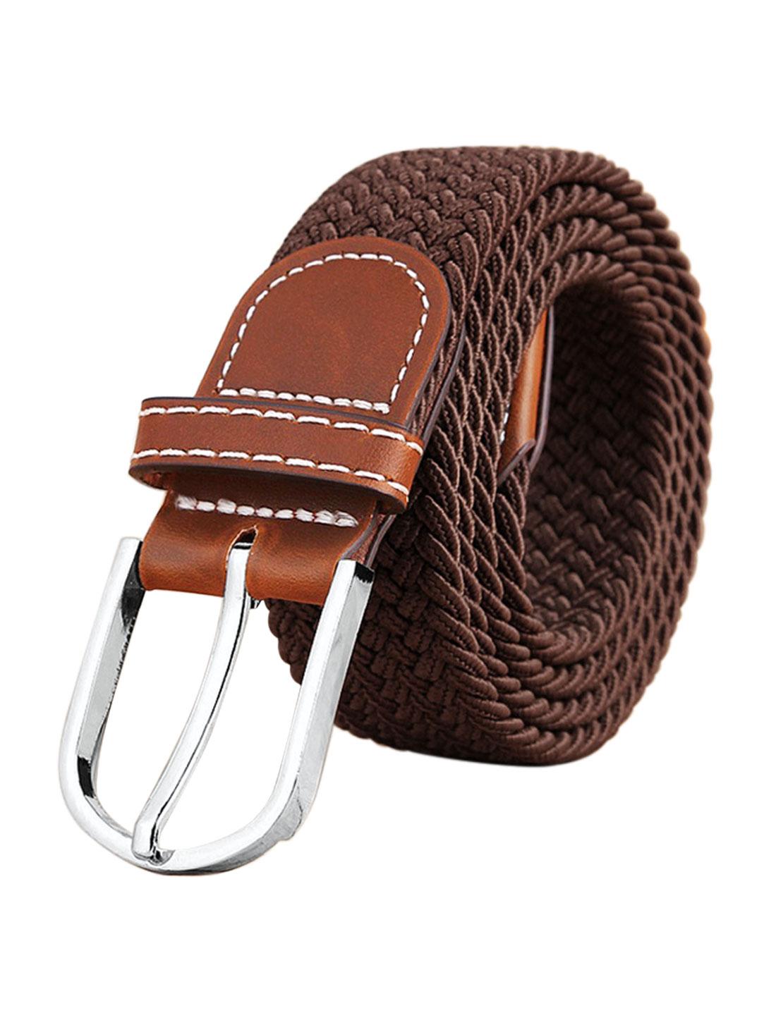 Men Zig-Zag Design PU Panel Adjustable Elastic Weave Belt Brown