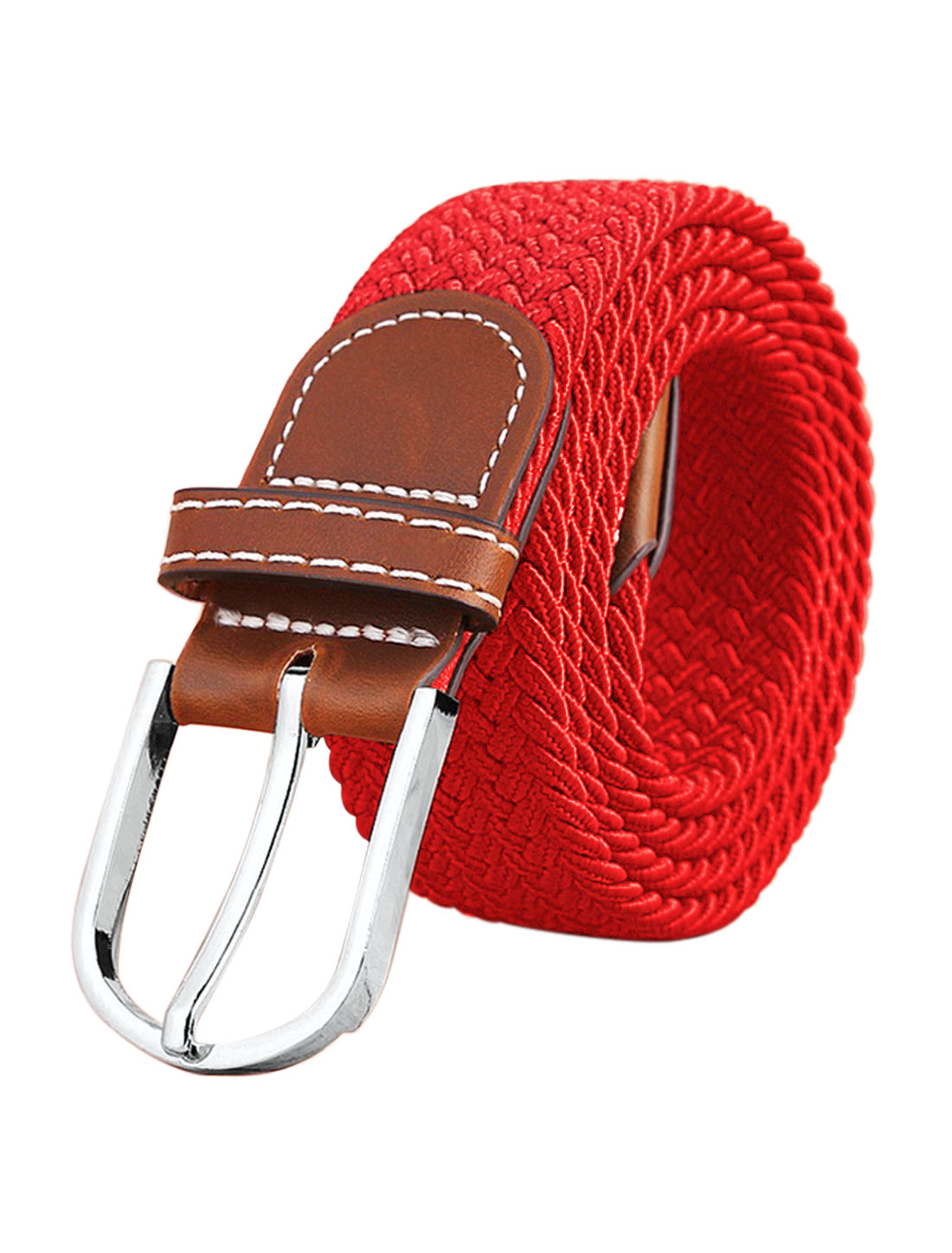 Men Zig-Zag Design PU Panel Adjustable Elastic Weave Belt Red