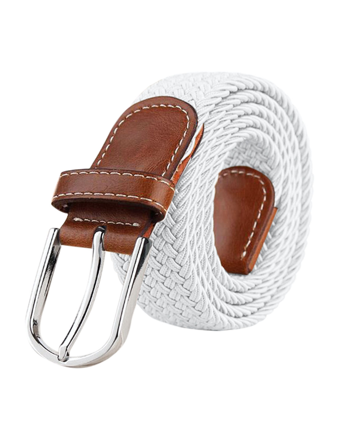 Men Zig-Zag Design PU Panel Adjustable Elastic Weave Belt White