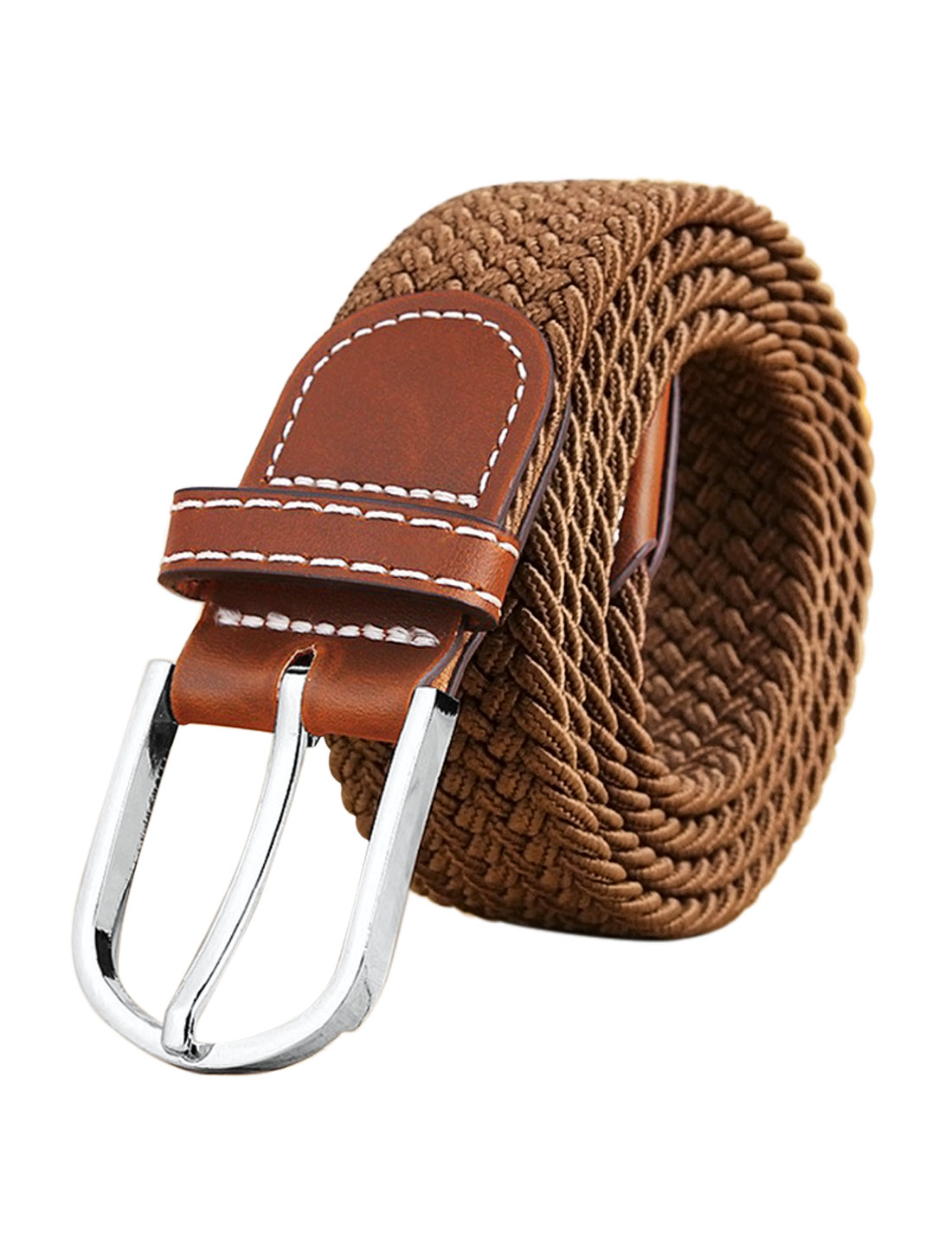 Men Zig-Zag Design PU Panel Adjustable Elastic Weave Belt Camel