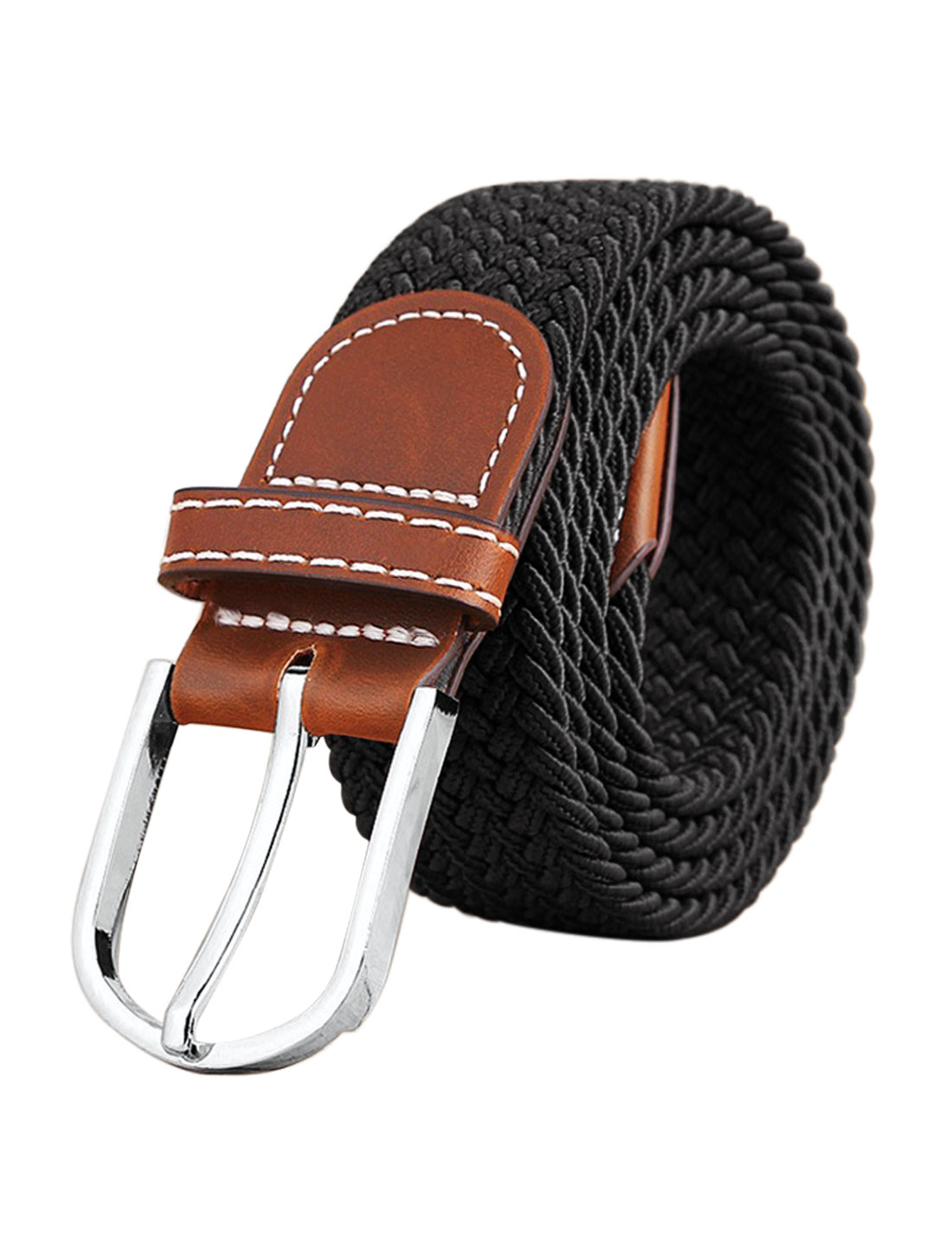 Men Zig-Zag Design PU Panel Adjustable Elastic Weave Belt Black