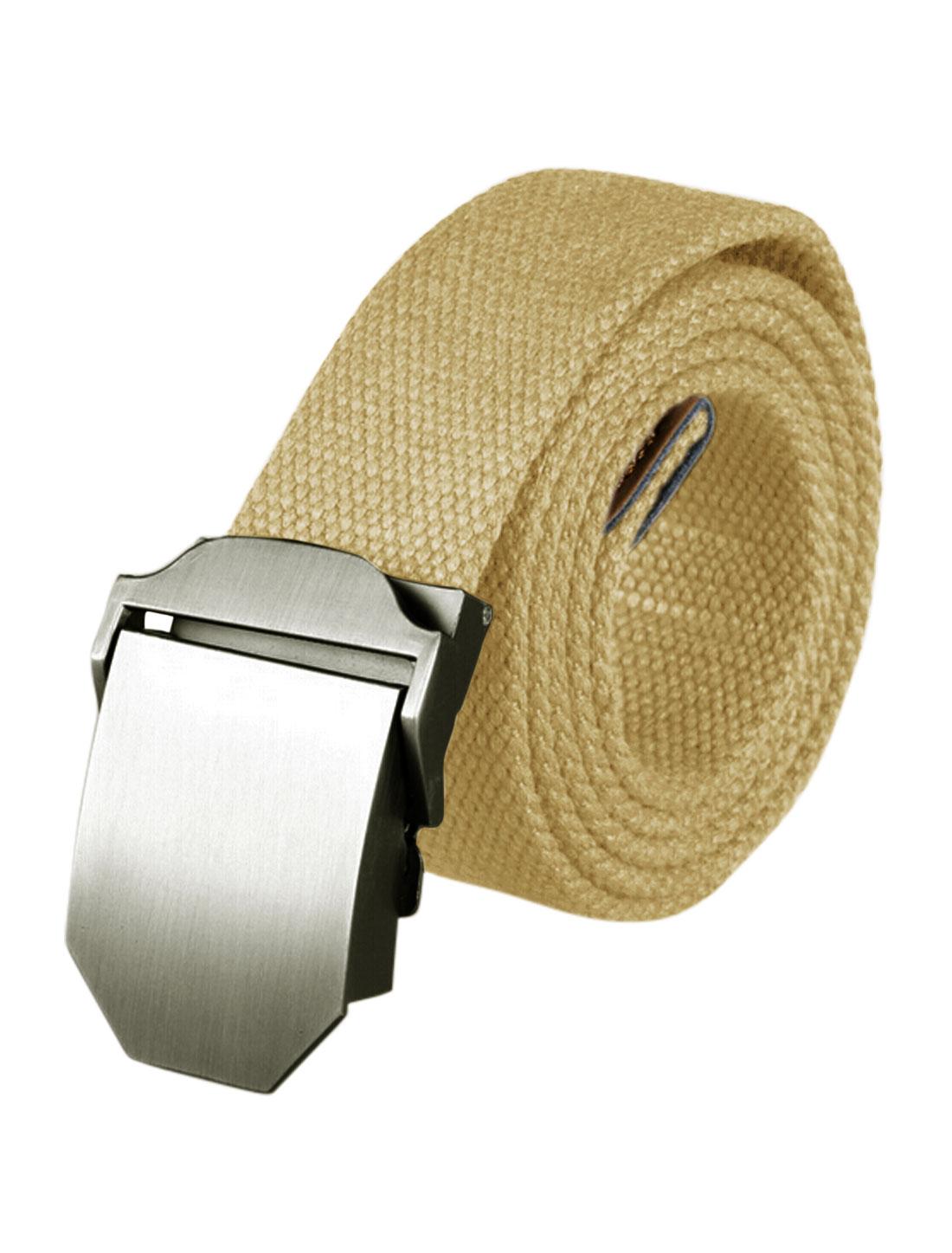 Men Adjustable Metal Automatic Buckle Military Canvas Belt Beige