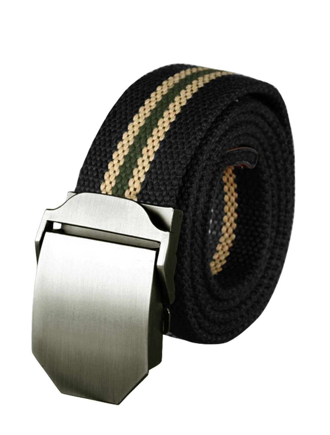Men Adjustable Metal Automatic Buckle Military Stripes Canvas Belt Black
