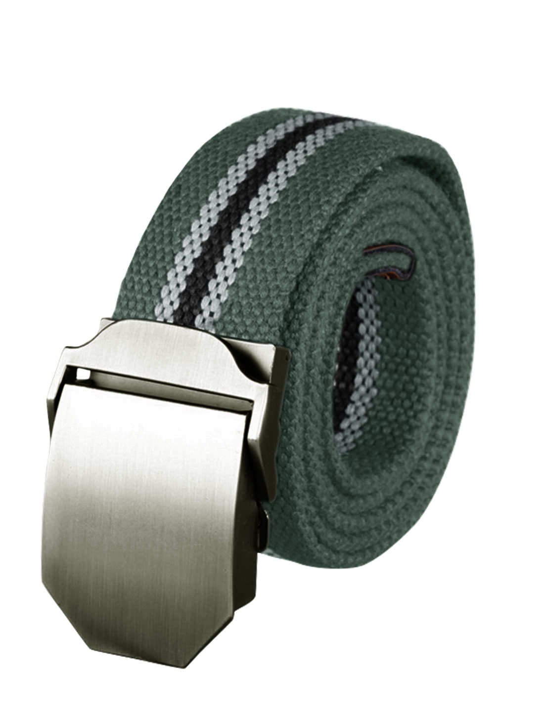 Men Adjustable Metal Automatic Buckle Military Stripes Canvas Belt Gray
