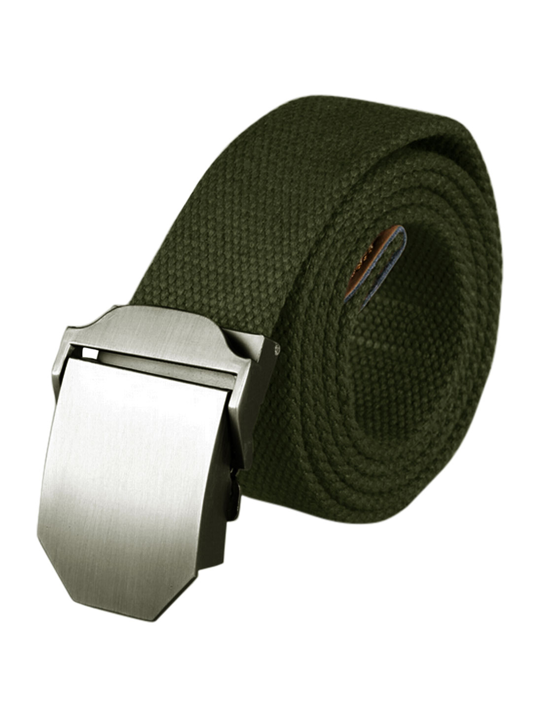 Men Adjustable Metal Automatic Buckle Military Canvas Belt Green