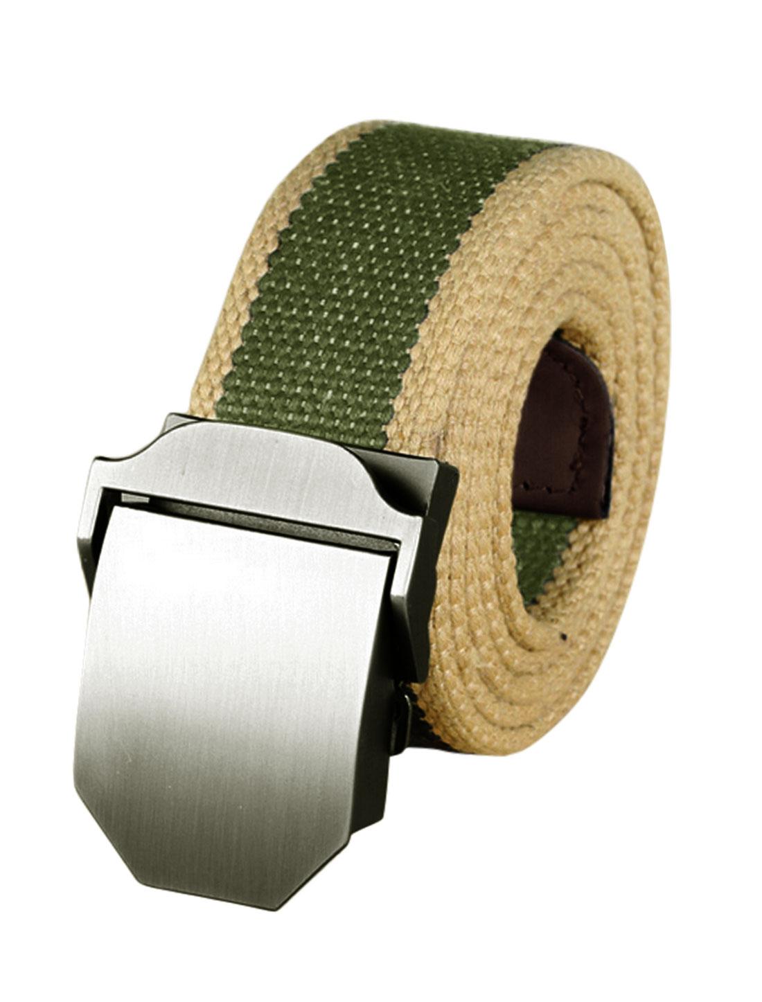 Men Contrast Color Metal Automatic Buckle Military Canvas Belt Green
