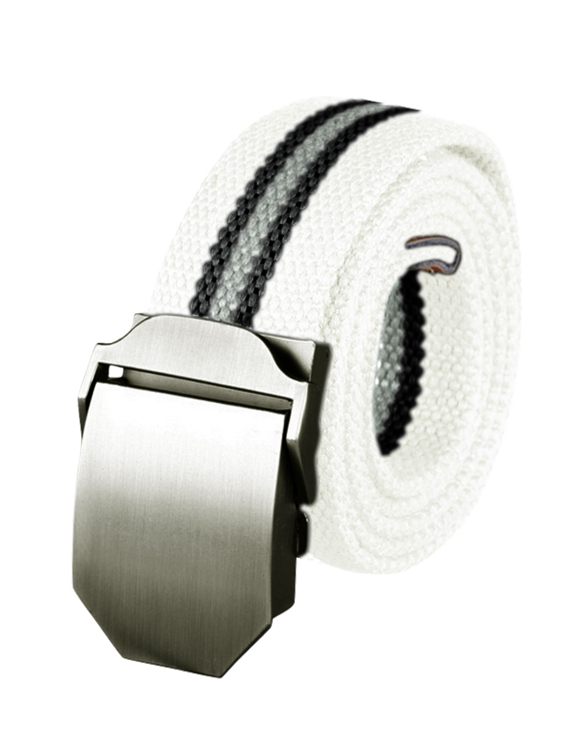 Men Adjustable Metal Automatic Buckle Military Stripes Canvas Belt White