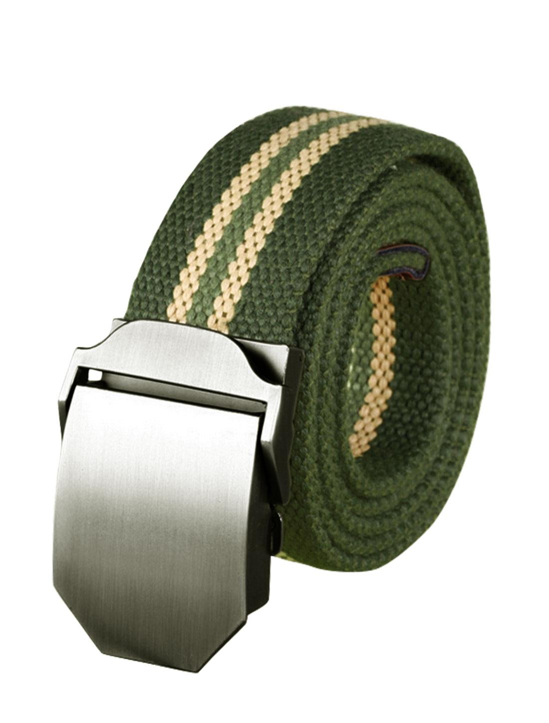 Men Adjustable Metal Automatic Buckle Military Stripes Canvas Belt Green