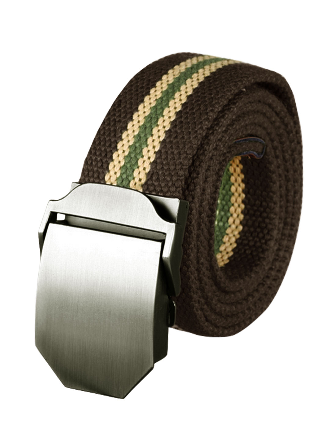 Men Metal Automatic Buckle Military Stripes Canvas Belt Dark Brown